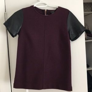 Club Monaco Maroon top with leather sleeves   Sz S